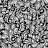 Seamless pattern with baroque ornamental floral silver elements. — Stock Vector