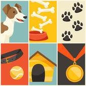 Background with cute dog, icons and objects. — Stock Vector
