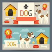 Horizontal banners with cute dog, icons and objects. — Stock Vector