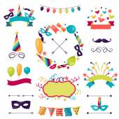 Celebration carnival set of icons, decorations and objects. — Stock Vector