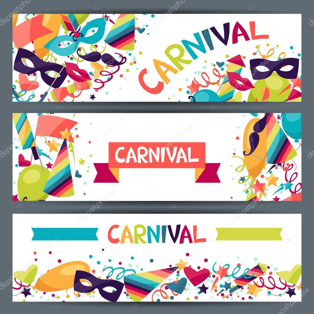 Celebration horizontal banners with carnival icons and ...