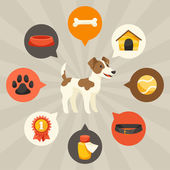Visual infographics with cute dogs, icons and objects. — Stockvektor