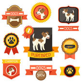 Abzeichen, etiketten, bänder mit niedlichen hunde, symbole und objekte. — Stockvektor