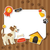 Background with cute sticker dog, icons and objects. — Stock Vector