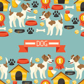 Seamless pattern with cute dogs, icons and objects. — Stock Vector