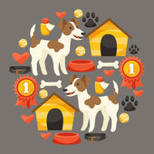 Set of icons and objects with cute dogs. — Stock Vector