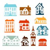 Town icon set of cute colorful houses. — Stock Vector