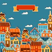 Town background design with cute colorful sticker houses. — Stock Vector