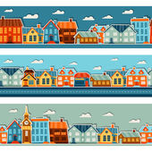 Town seamless patterns with cute colorful sticker houses. — Stock Vector
