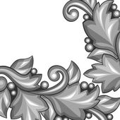 Background with baroque ornamental floral silver elements. — Stock Vector