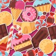 Seamless pattern colorful sticker candy, sweets and cakes. — Stock Vector #55268977
