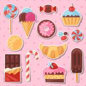 Set of colorful sticker candy, sweets and cakes. — Stock Vector