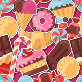 Seamless pattern colorful sticker candy, sweets and cakes. — Stockvector
