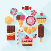 Set of colorful various candy, sweets and cakes. — Stock vektor