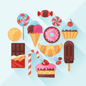 Set of colorful various candy, sweets and cakes. — Stock Vector