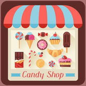 Candy shop background with candy, sweets and cakes. — Stock Vector