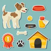 Set of sticker icons and objects with cute dog. — Stock Vector
