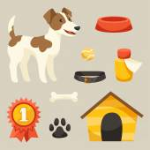 Set of icons and objects with cute dog. — Stock Vector