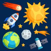 Illustration of solar system, planets and celestial bodies. — Stockvector