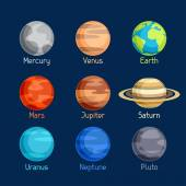 Cosmic icon set of planets solar system. — Stock Vector