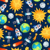 Seamless pattern of solar system, planets and celestial bodies. — Stockvector