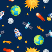Seamless pattern of solar system, planets and celestial bodies. — Stock Vector