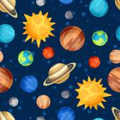 Cosmic seamless pattern with planets of the solar system. — Stockvektor