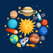 Background of solar system, planets and celestial bodies. — Vetorial Stock