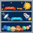 Horizontal banners with solar system and planets. — Stock Vector #55613013