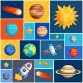 Background with solar system, planets and celestial bodies. — Cтоковый вектор