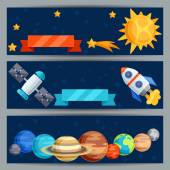 Horizontal banners with solar system and planets. — Cтоковый вектор
