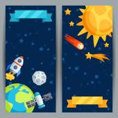 Vertical banners with solar system and planets. — Stockvektor