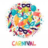 Celebration festive background with carnival icons and objects. — Stock Vector