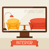 Illustration with computer and furniture in retro style. — Vecteur