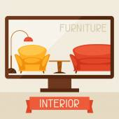 Illustration with computer and furniture in retro style. — Stock vektor