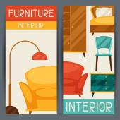 Interior vertical banners with furniture in retro style. — Stok Vektör