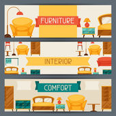 Interior horizontal banners with furniture in retro style. — Stok Vektör