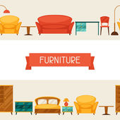 Interior seamless pattern with furniture in retro style. — 图库矢量图片