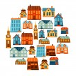 Town icon set of cute colorful houses. — Stock Vector #55937867