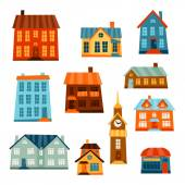 Town icon set of cute colorful houses. — Vector de stock