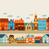 Town seamless pattern with cute colorful houses. — Stock Vector