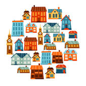 Town icon set of cute colorful houses. — Stockvector