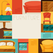 Interior background with furniture in retro style. — ストックベクタ