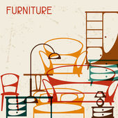 Interior background with furniture in retro style. — Stockvector