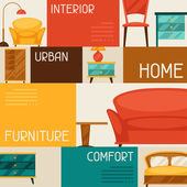 Interior background with furniture in retro style. — Vecteur