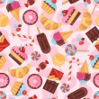 Seamless pattern colorful various candy, sweets and cakes. — Stock Vector #55988811