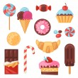 Set of colorful various candy, sweets and cakes. — Stock Vector #55988839