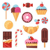 Set of colorful various candy, sweets and cakes. — Wektor stockowy