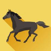 Background with horse running in flat style. — Stock Vector