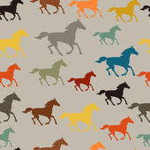 Seamless pattern with horse running in flat style. — Vector de stock